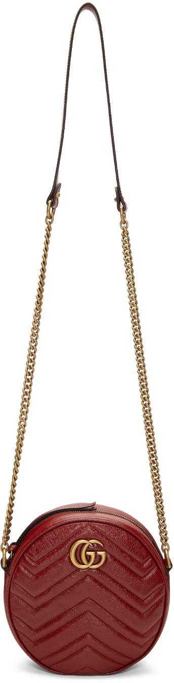 Gucci Red Mini GG Marmont Round Bag