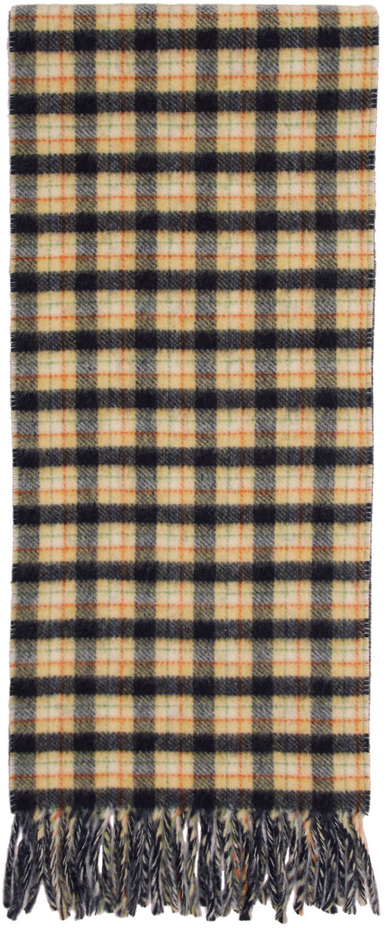 Gucci Navy & Yellow Wool Check GG Scarf