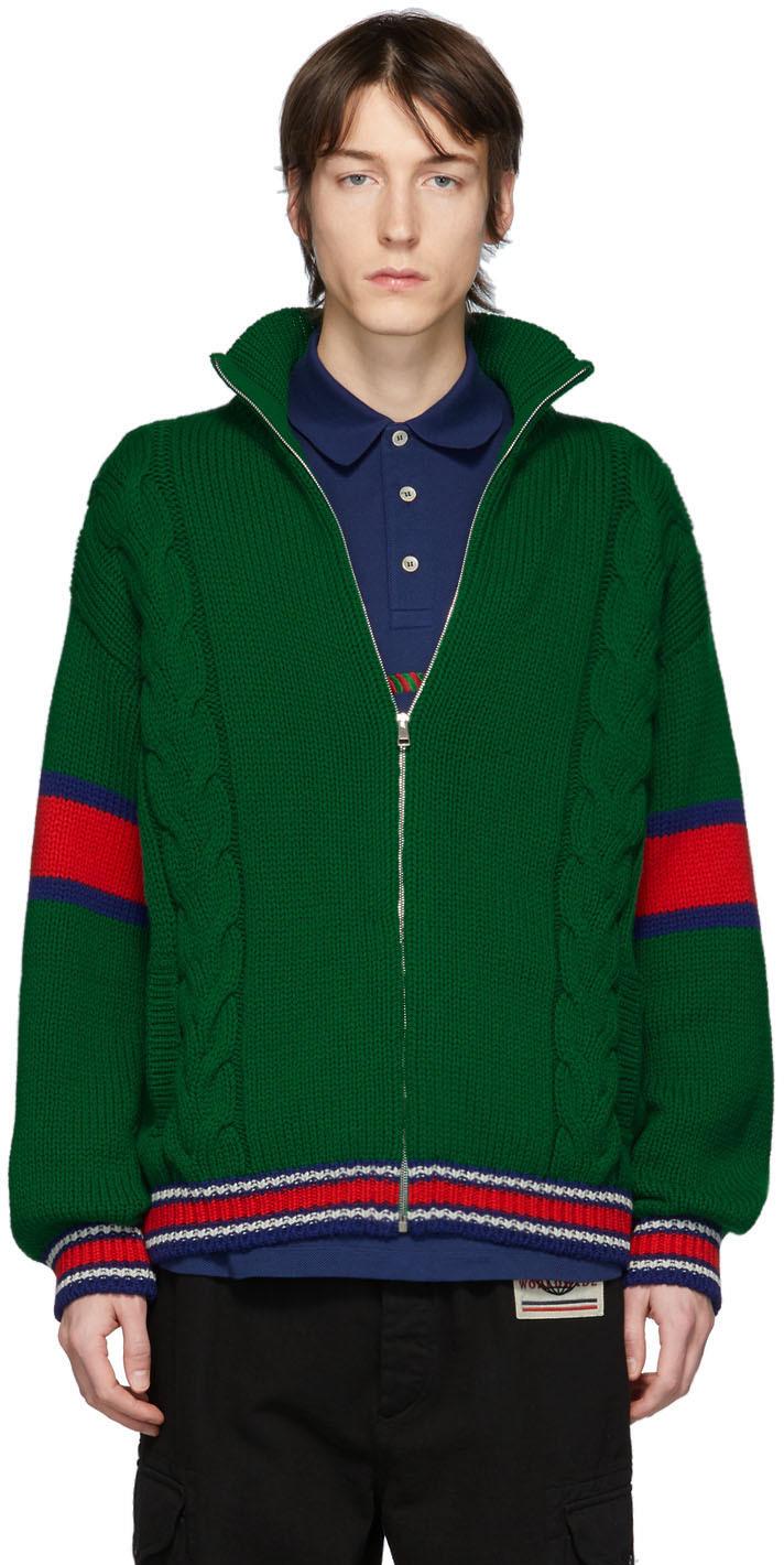 Gucci Green Wool Zip-Up Sweater