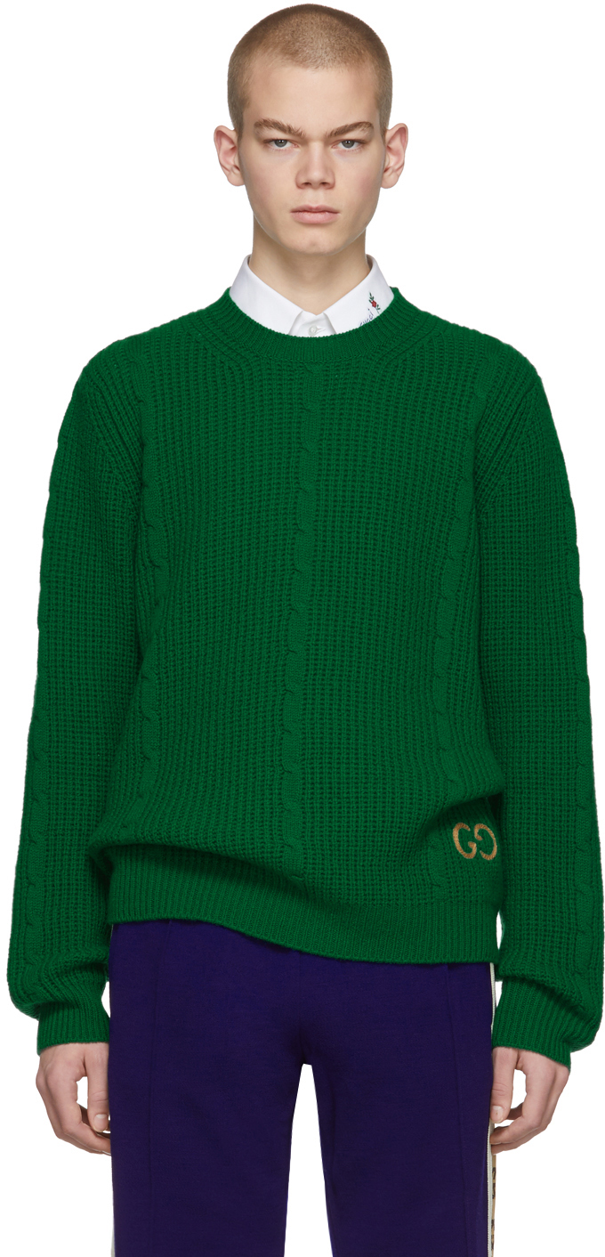 Gucci Green Cable Knit Wool GG Sweater
