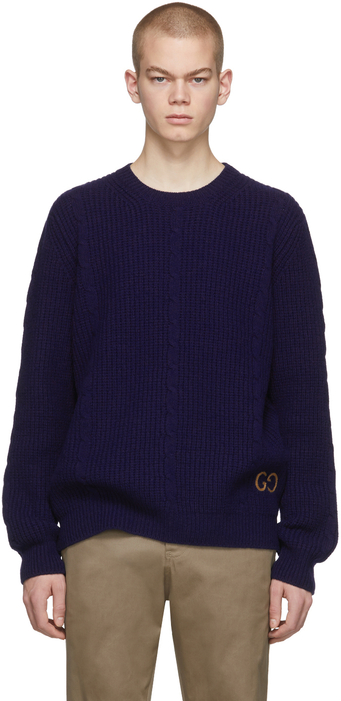 Gucci Navy Cable Knit Wool GG Sweater