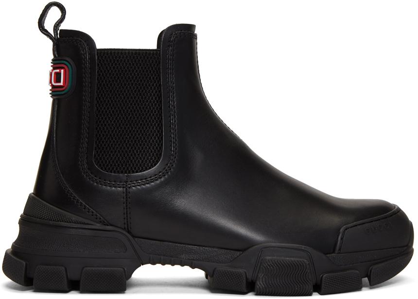 Gucci Black Leon Chelsea Boots