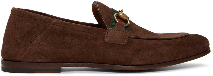 Gucci Brown Suede Horsebit Loafers