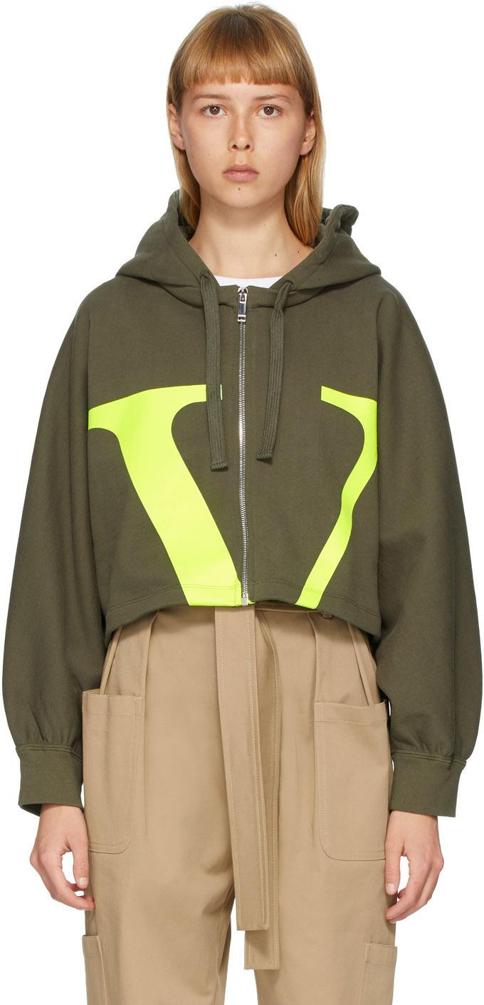Valentino Green VLogo Cropped Hoodie