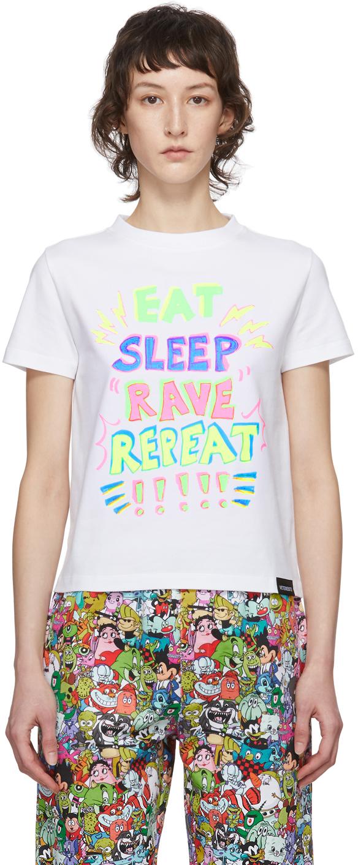 VETEMENTS White 'Eat, Sleep, Rave, Repeat' T-Shirt