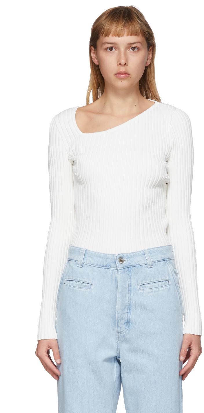 Loewe White Asymmetric Collar Sweater