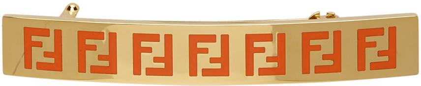Fendi Gold & Orange 'Forever Fendi' Hair Clip