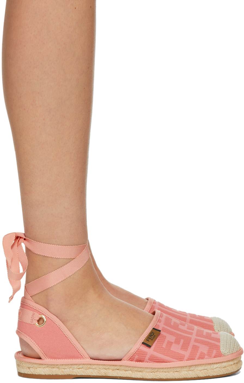 Fendi Pink 'Forever Fendi' Ankle Strap Espadrilles