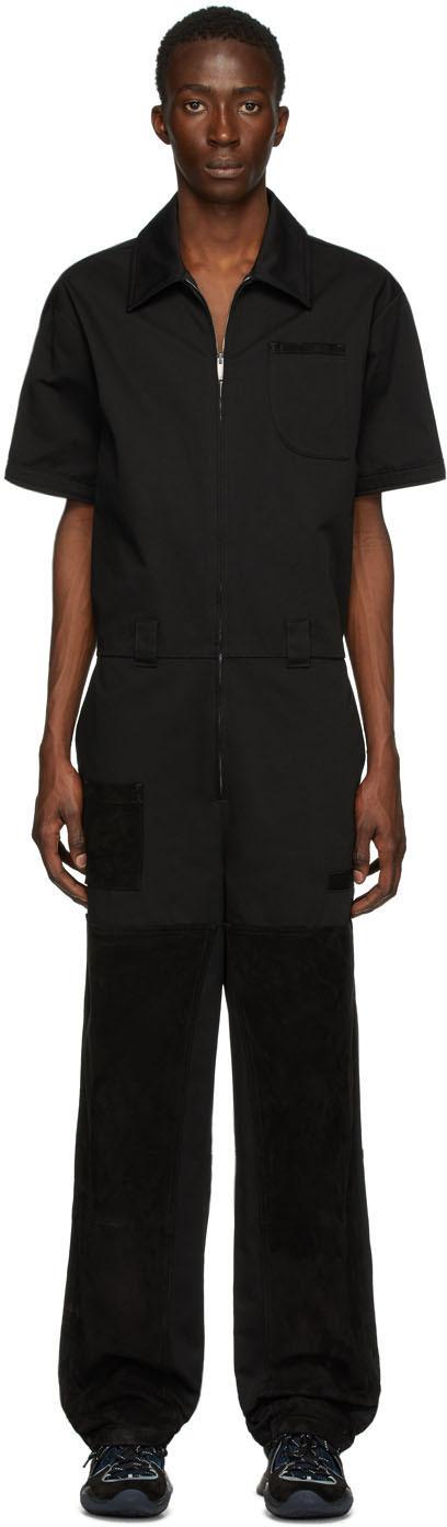 Fendi Black Suede Detail Jumpsuit