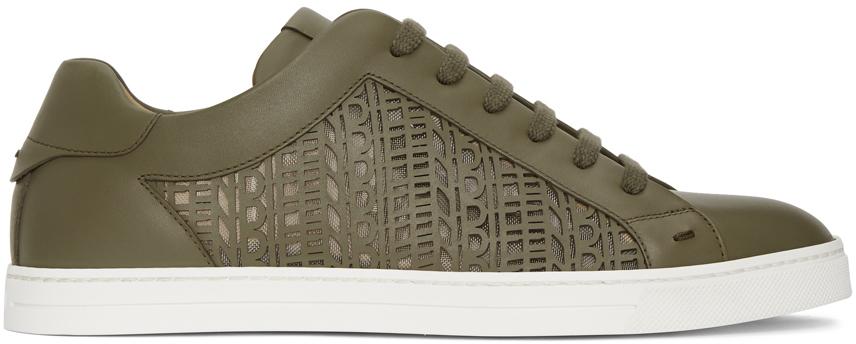 Fendi Khaki Laser-Cut Logo Sneakers