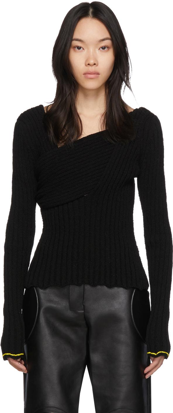 Bottega Veneta Black Bouclé Draped Sweater
