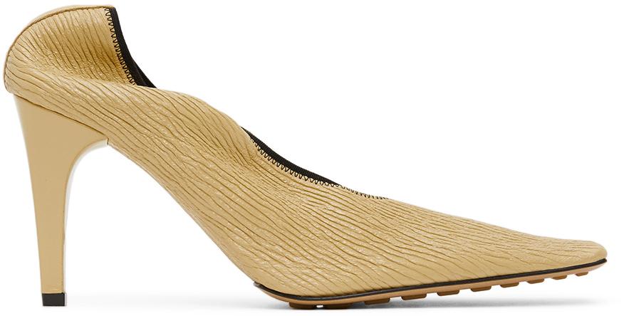 Bottega Veneta Beige Crunch Leather Heels