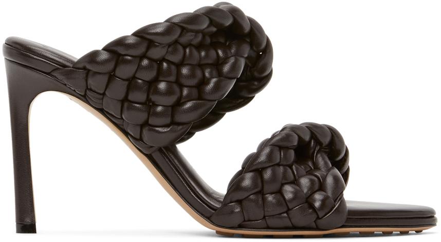 Bottega Veneta Brown Intrecciato Curve Heeled Sandals