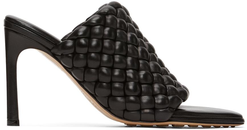 Bottega Veneta Black Intrecciato Curve Heeled Sandals