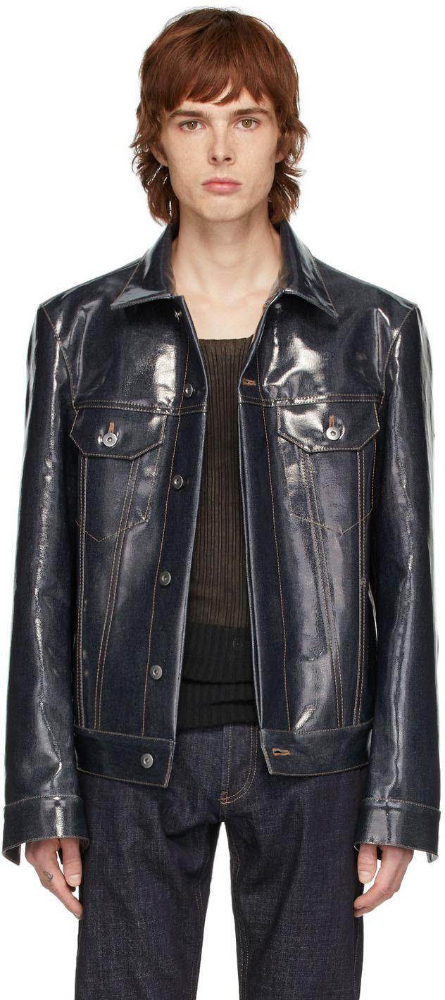 Bottega Veneta Indigo Denim Laminated Jacket