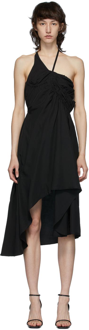 Vejas Black Elasticated Liquid Slip Dress