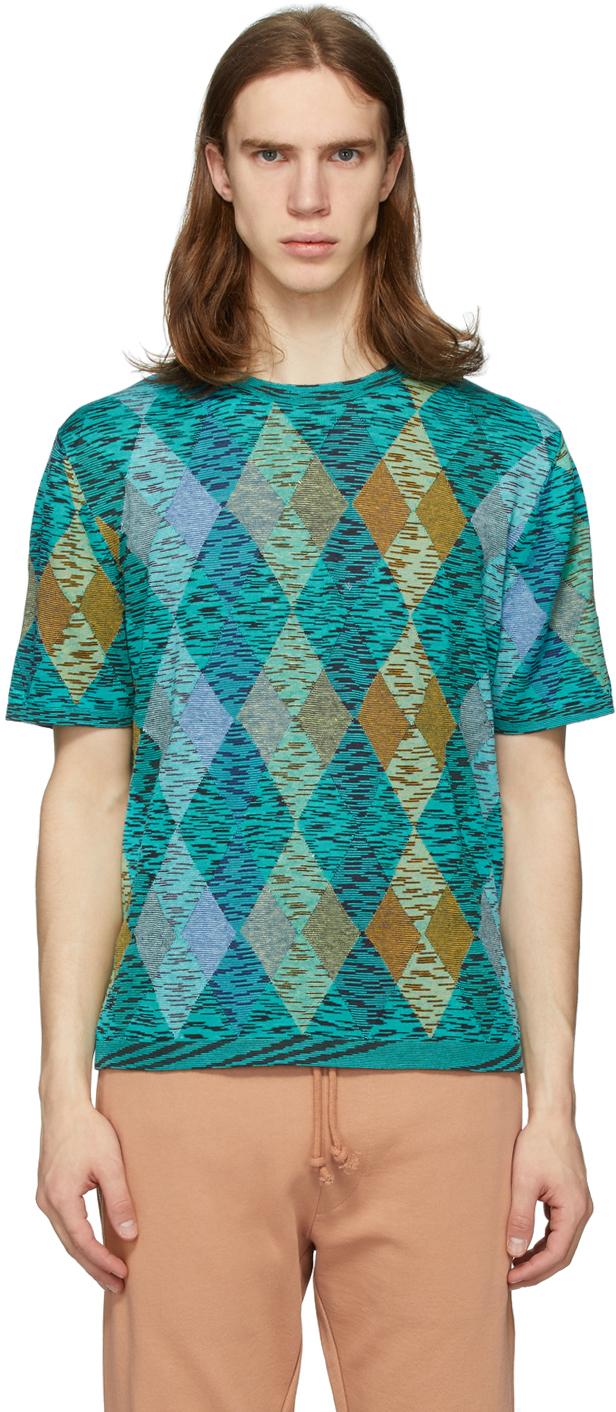 Missoni Blue & Multicolor Argyle T-Shirt