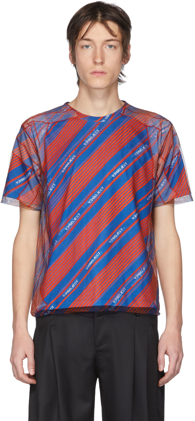 Y/Project Blue & Red Tulle Cover T-Shirt