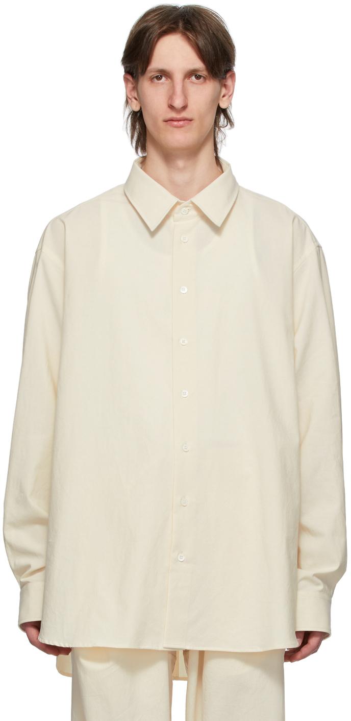 Hed Mayner Off-White Washed Cotton Open Back Shirt