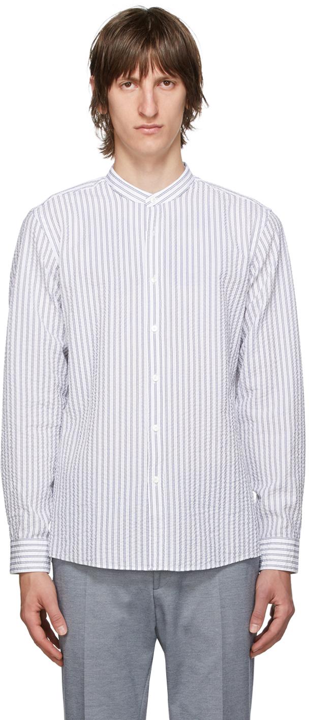 Boss White & Blue Seersucker Jorris Shirt