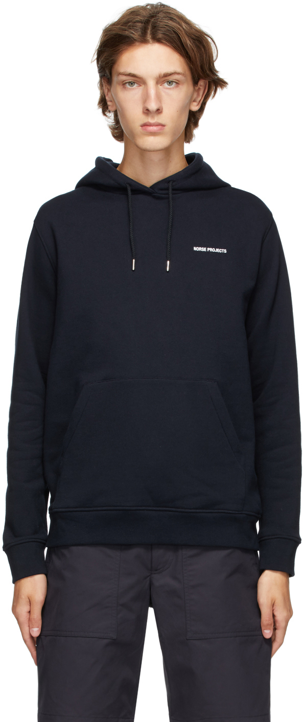 Norse Projects Navy Vagn Logo Hoodie
