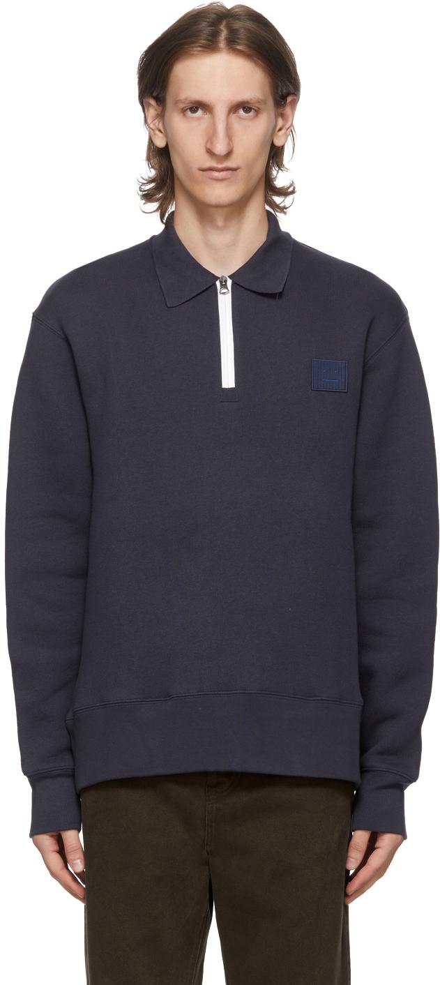 Acne Studios Navy Point Collar Oversized Sweatshirt