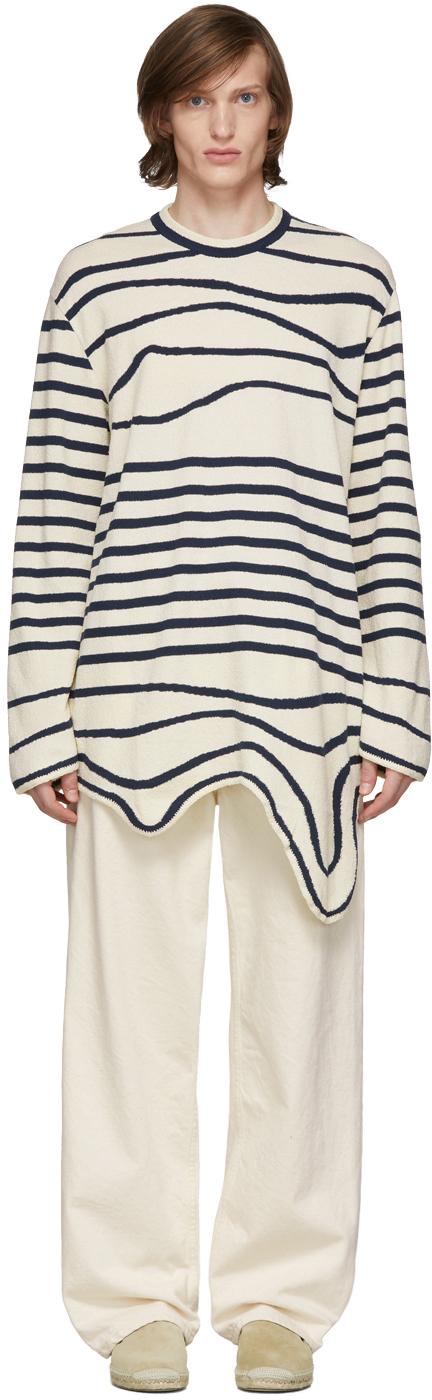 Lanvin Navy & Off-White Stripe Asymmetric Pullover