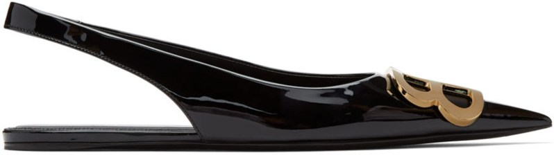balenciaga black patent bb slingback ballerina flats