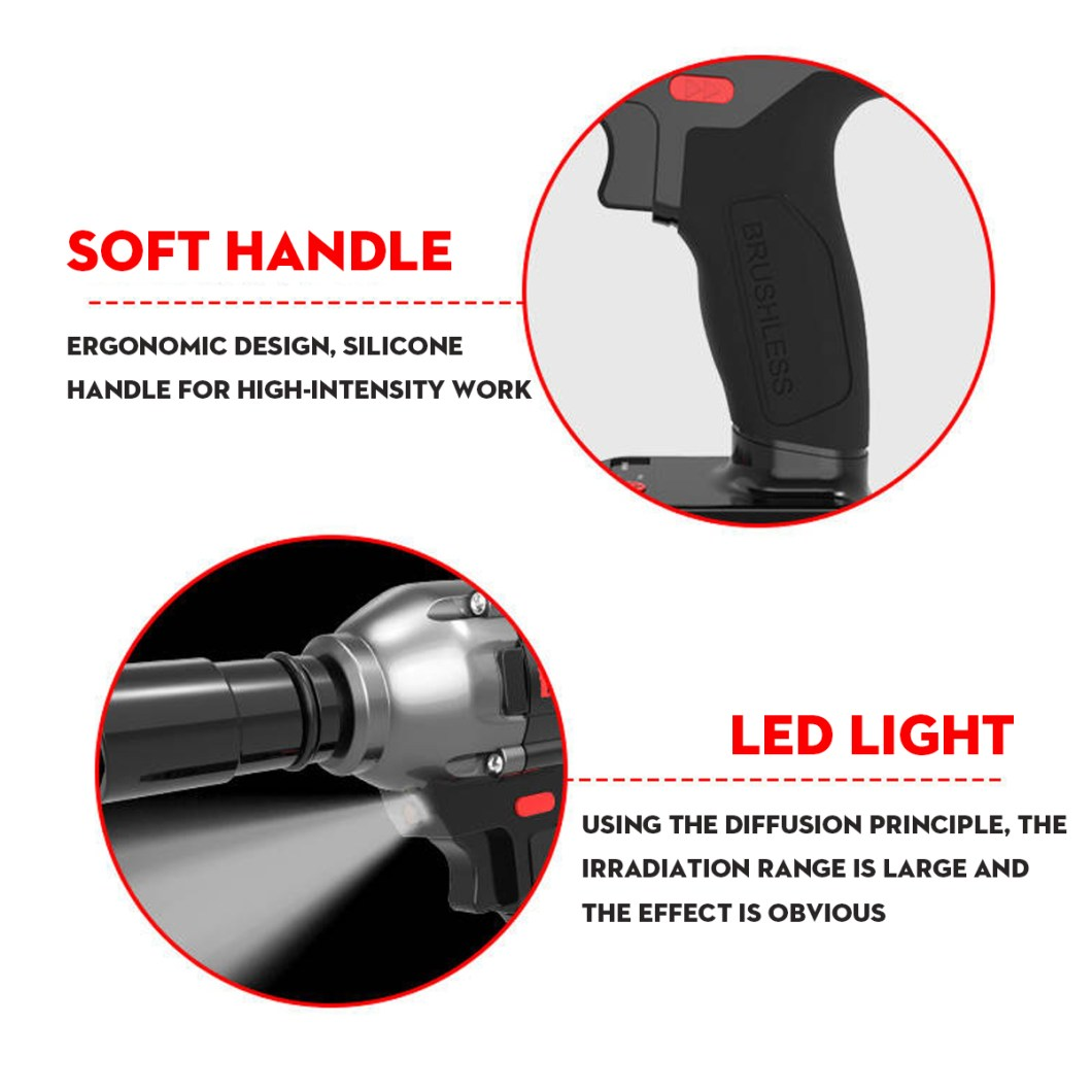 98FV 14800mAh Cordless Brushless Electric Wrench Drill LED Light W/ 1 or 2 Li-on Battery 39