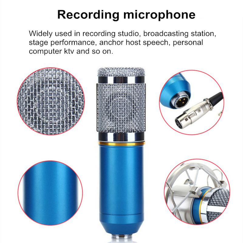 Metal Noise Canceling HD Sound Shockproof Live Broadcast Recording 3 5mm  Condenser Microphone