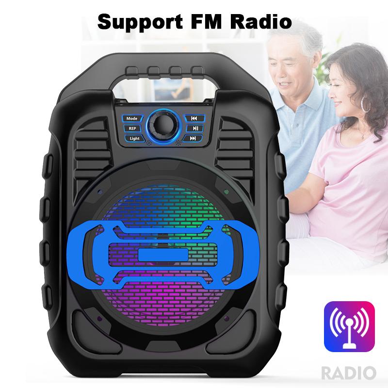 Bakeey Wireless Bluetooth Speaker Kalaoke Colorful Light Stereo TF Card FM Radio Portable Speaker 15