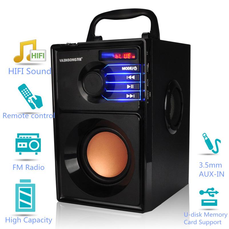VAENSON A10 Portable Wireless Bluetooth Speaker USB Column MP3 Play FM Radio Stereo Subwoofer 8