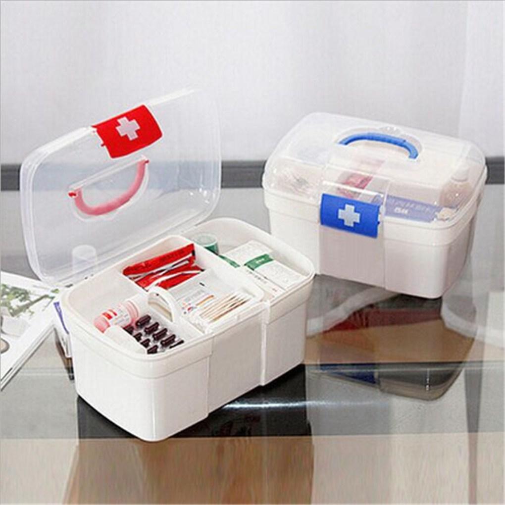 2 Layers Plastic Medicine Storage Box Chest Drug First Aid Kit Holder
