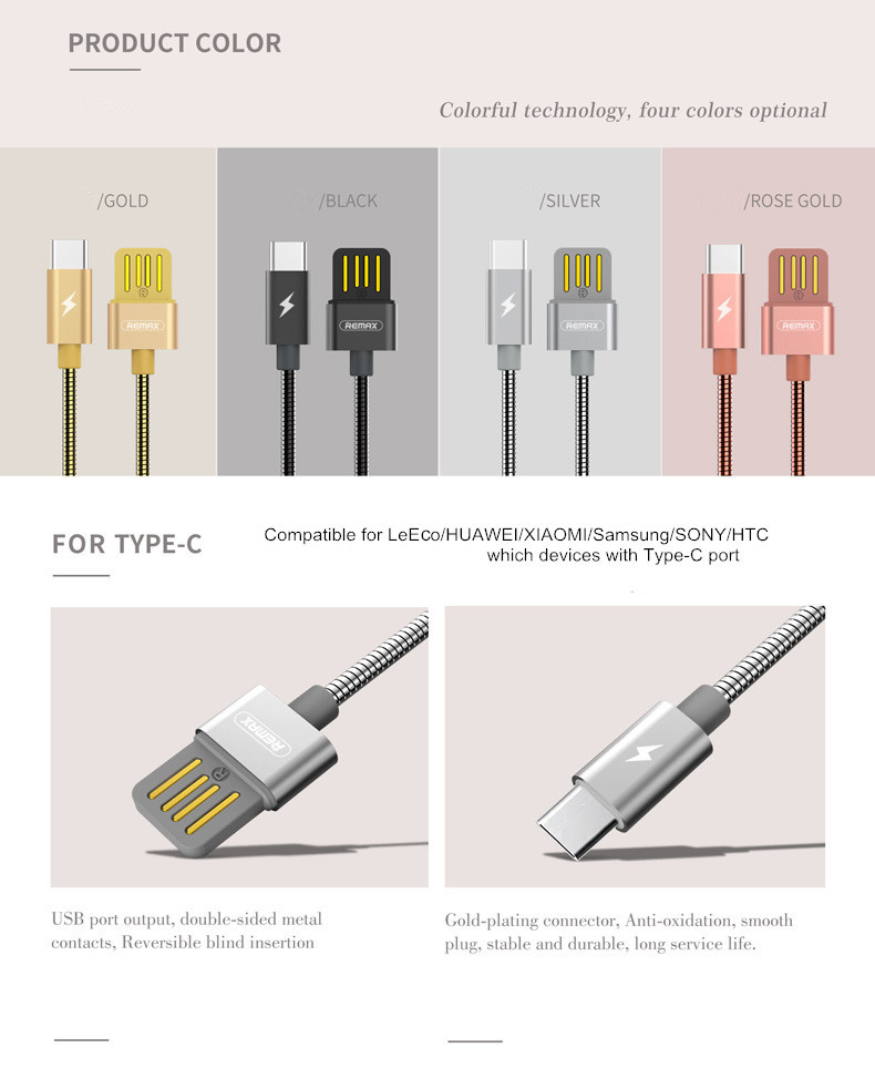 Remax RC-080a 2.1A Metal USB Type-C Fast Charging Data Cable For Samsung S8 Xiaomi 6 HUAWEI M9