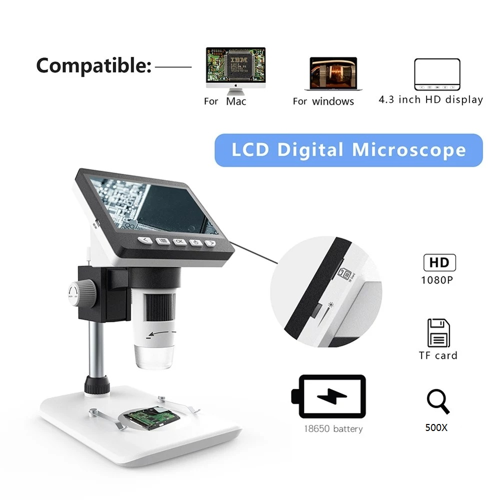 MUSTOOL G700 4.3 Inches HD 1080P Portable Desktop LCD Digital Microscope Support 10 Languages 8 Adjustable High Brightness LED With Adjustable Bracket Picture Capture Video Recording 33