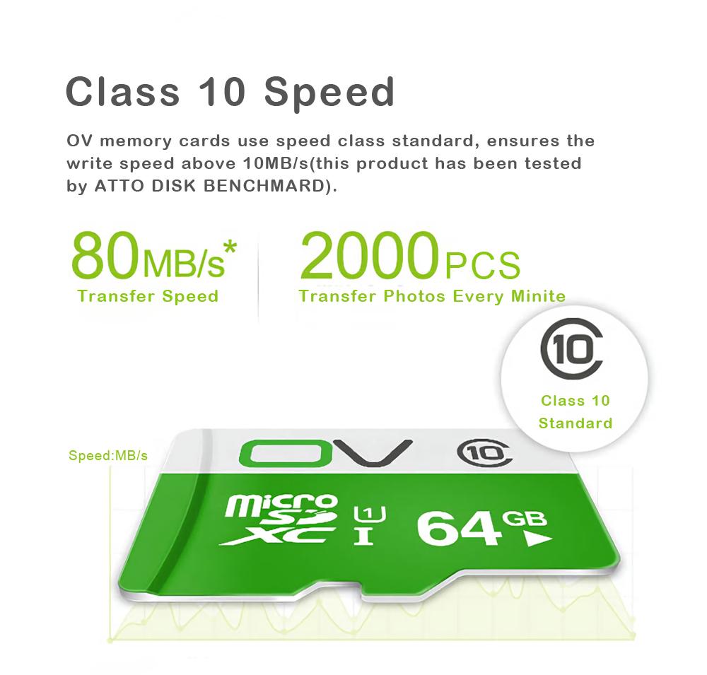 Original OV 80MB/S Class10 Micro SD Memory Card With Micro SD to SD Card Reader Set 23