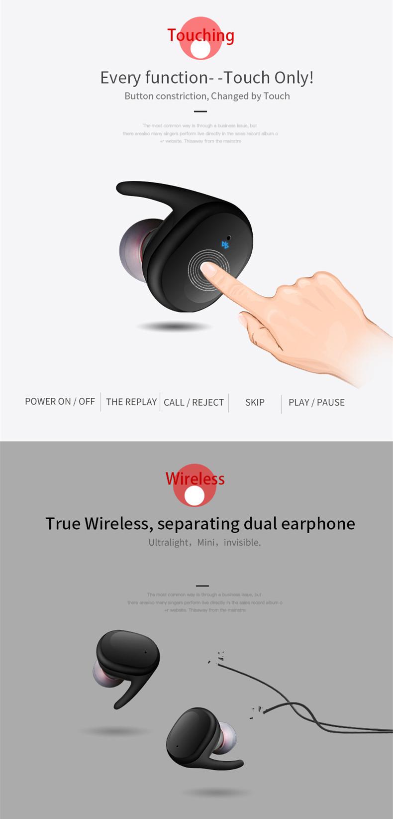 [Truly Wireless] Sport Stereo Stealth Waterproof Wireless Bluetooth Dual Earphones Headphones