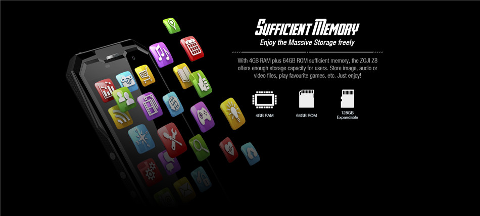 HOMTOM ZOJI Z8 5.0-Inch IP68 Waterproof 4250mAh 4GB RAM 64GB ROM MTK6750 1.5GHZ Octa core 4G Smartphone
