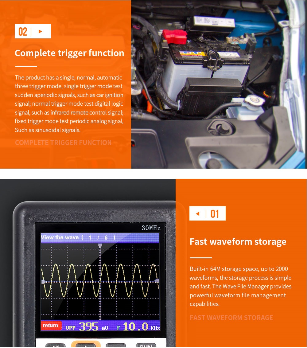 DSO338 Handheld Oscilloscope 30MHz Bandwidth 200M Sampling Rate 2.4 Inch IPS Screen 320*240 Resolution Technology Built-in 64M Storage  Built-in 3000mah Lithium Battery 36
