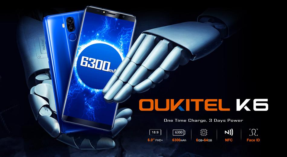 Oukitel K6 6.0 inch Face ID 6300mAh 5V/3A 6GB RAM 64GB ROM MT6763 Octa Core 4G Smartphone