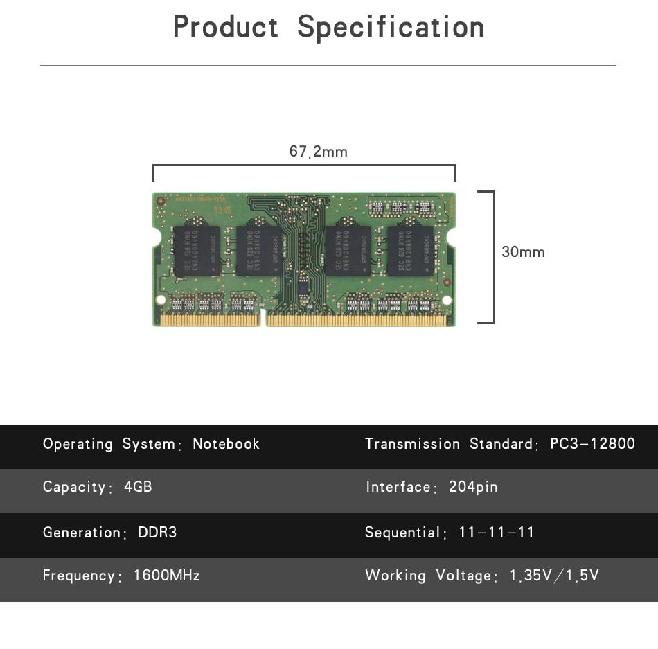 KingSpec DDR3 1600MHz 8GB 4GB RAM Computer Memory Ram For Laptop
