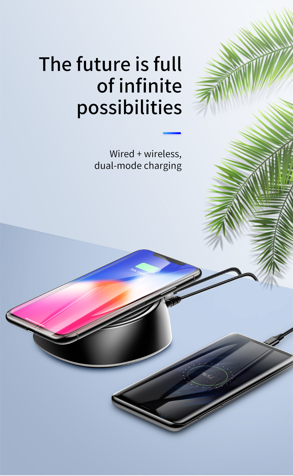 Baseus 2 in 1 10W 7 5W 5W Wireless Charger+3 4A 3 Ports USB Charger For  iPhone X XS MAX XR S9 Note 9