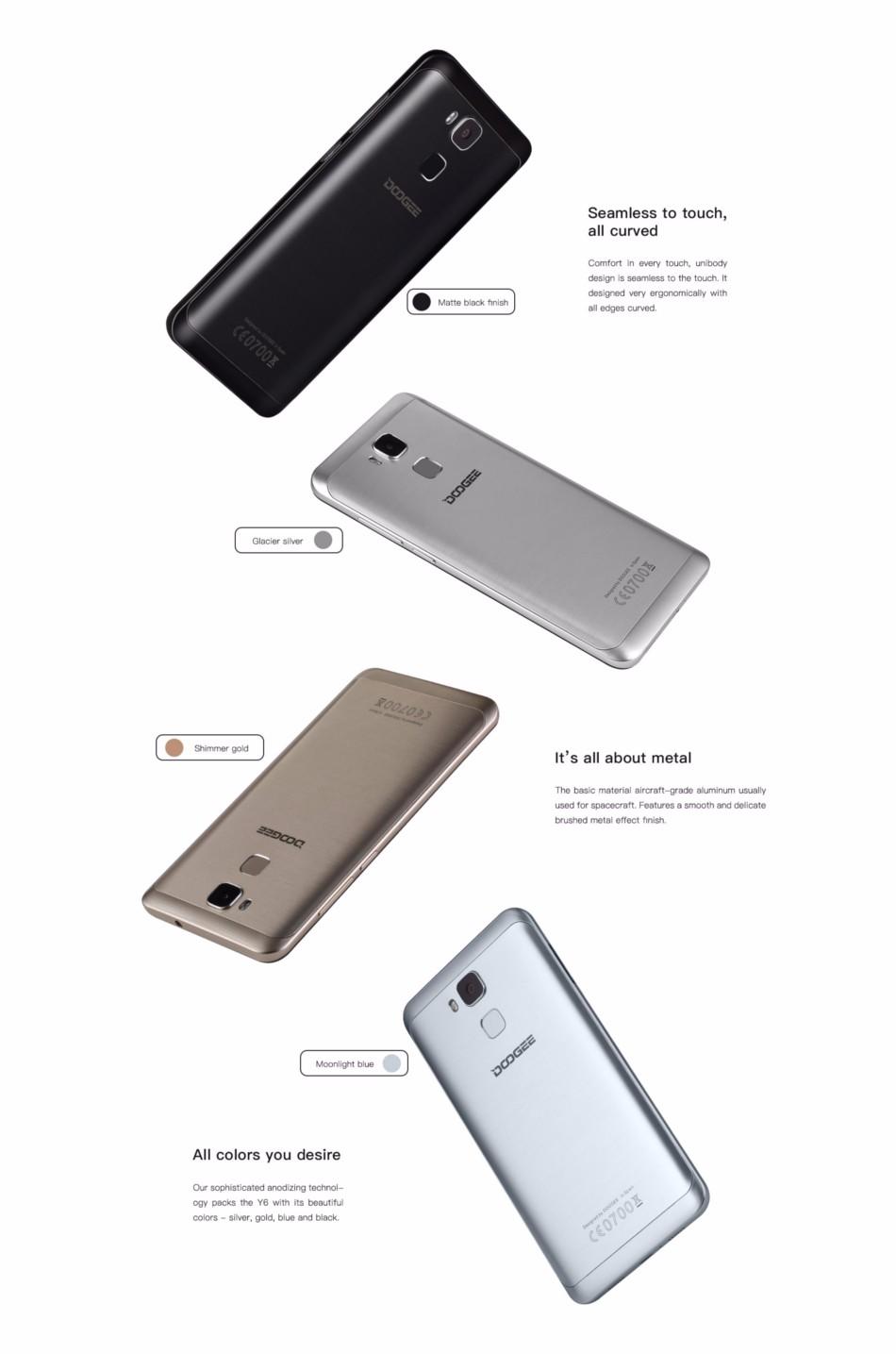 DOOGEE Y6 5.5 Inch Fingerprint 2GB RAM 16GB ROM MTK6750 Octa Core 4G Smartphone