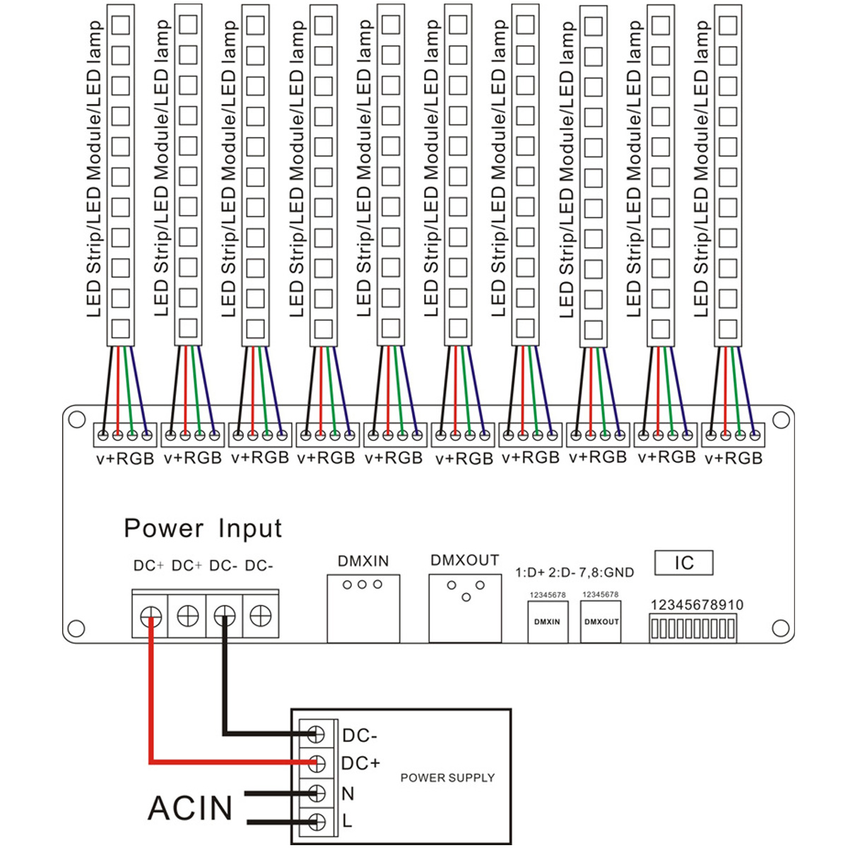 Dmx 512 30 Channels Led Decoder Controller For Rgb Tape