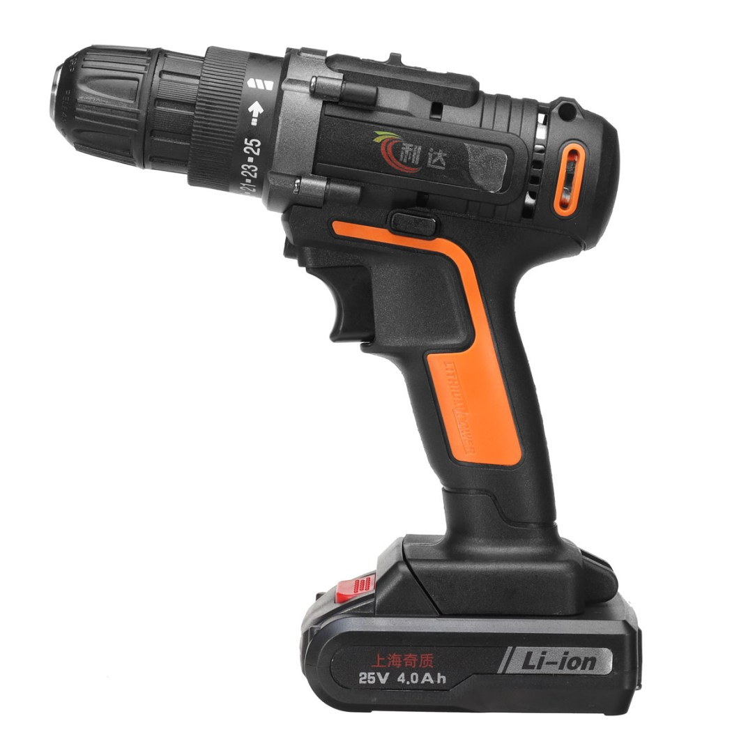 25V 4000mAh Cordless Rechargeable Power Drill Driver Electric Screwdriver with 2 Li-ion Batteries 37