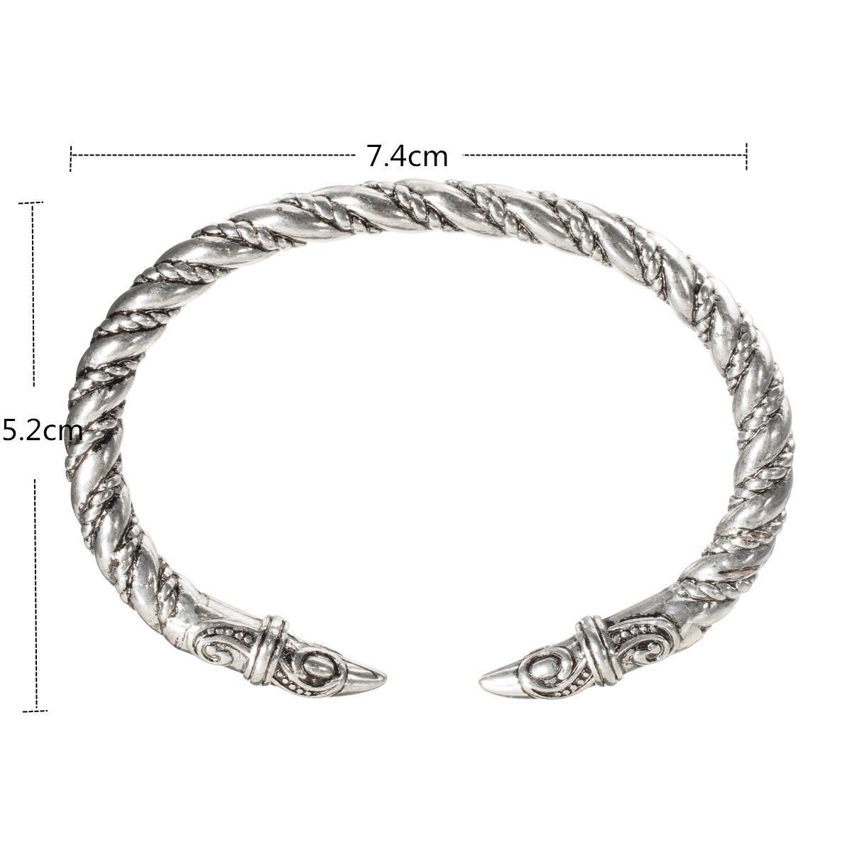 Men Punk Alloy Large Bangles Wristband Retro Viking