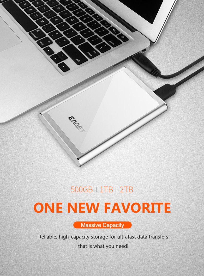 EAGET G90 USB 3.0 Full Encryption External Hard Drive 1TB 2TB Hard Disk 25
