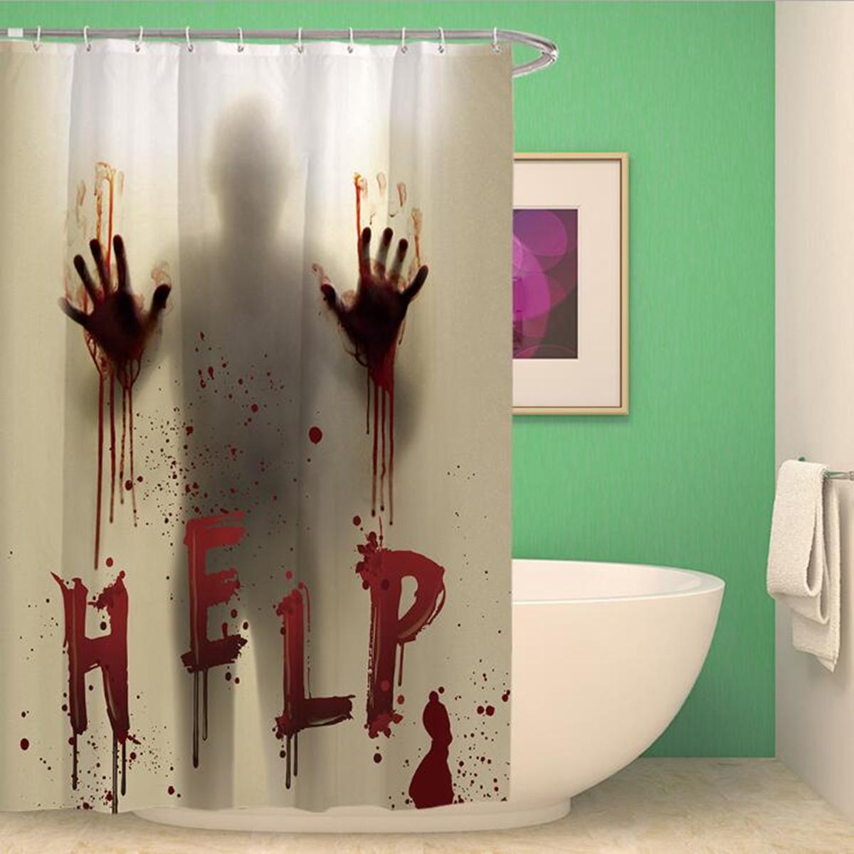 halloween horror bloody hands helps waterproof shower curtains bathroom decor