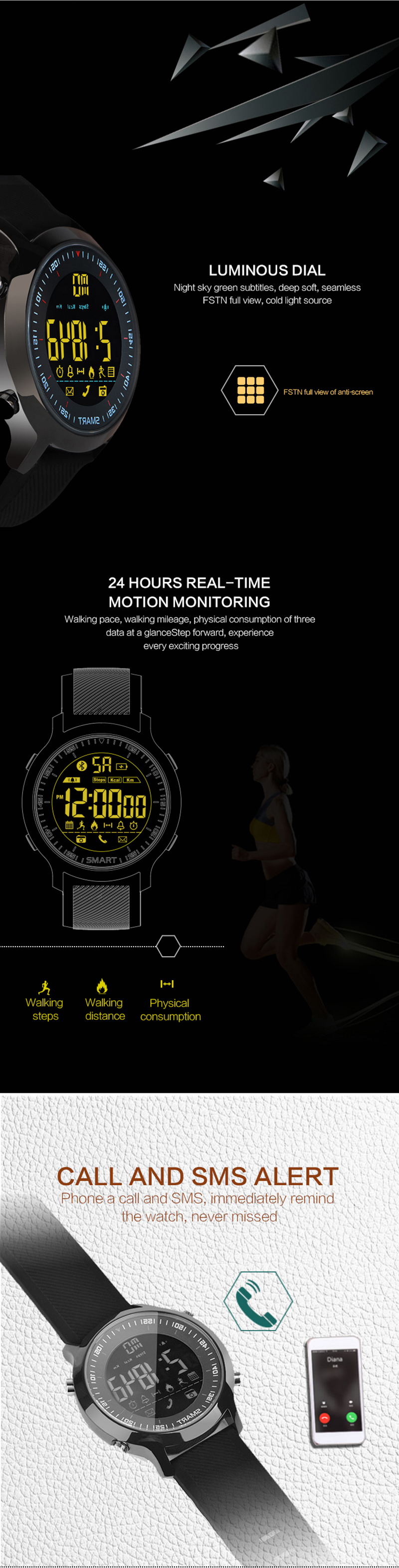 Bakeey EX18 Sleep Fitness Tracker SMS Reminder Pedometer Bluetooth Smart Watch For IOS Android