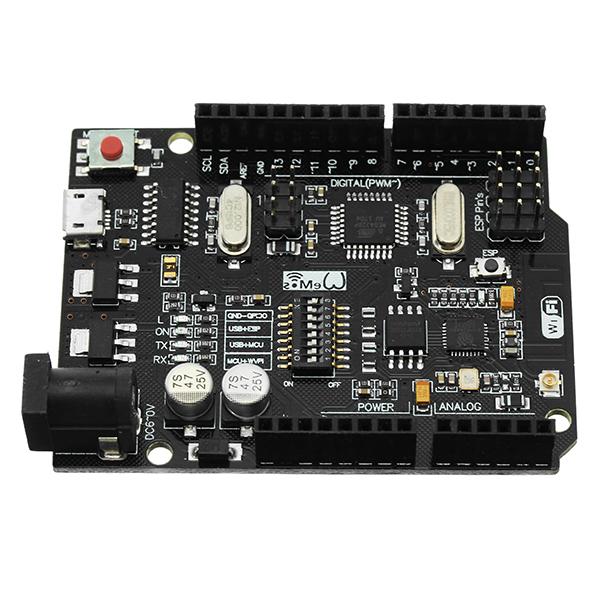 Wemos® UNO+WiFi R3 ATmega328P+ESP8266 Module 32Mb Memory USB-TTL CH340G Compatible For Arduino Uno NodeMCU ESP8266